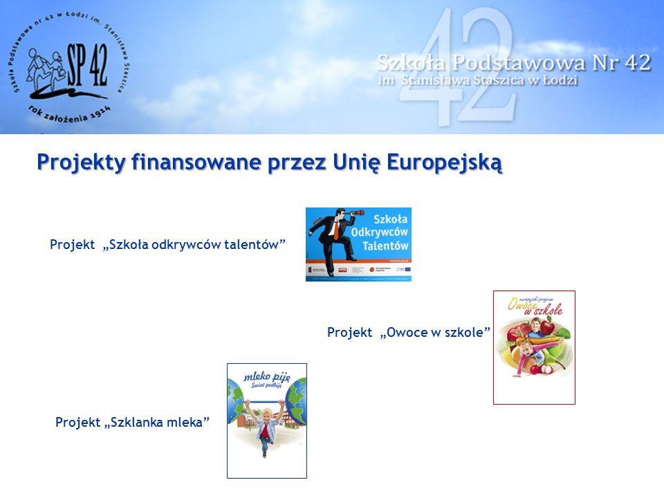 """Projekty finansowane przez Unię Europejską Projekt """"Szkoła odkrywców talentów Projekt """"Owoce w szkole Projekt """"Szklanka mleka"""