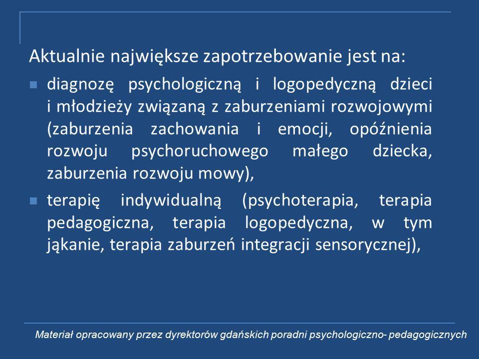 Aktualnie największe zapotrzebowanie jest na: diagnozę psychologiczną i logopedyczną dzieci i młodzieży związaną z zaburzeniami rozwojowymi (zaburzenia zachowania i emocji, opóźnienia rozwoju psychoruchowego małego dziecka, zaburzenia rozwoju mowy), terapię indywidualną (psychoterapia, terapia pedagogiczna, terapia logopedyczna, w tym jąkanie, terapia zaburzeń integracji sensorycznej), Materiał opracowany przez dyrektorów gdańskich poradni psychologiczno- pedagogicznych