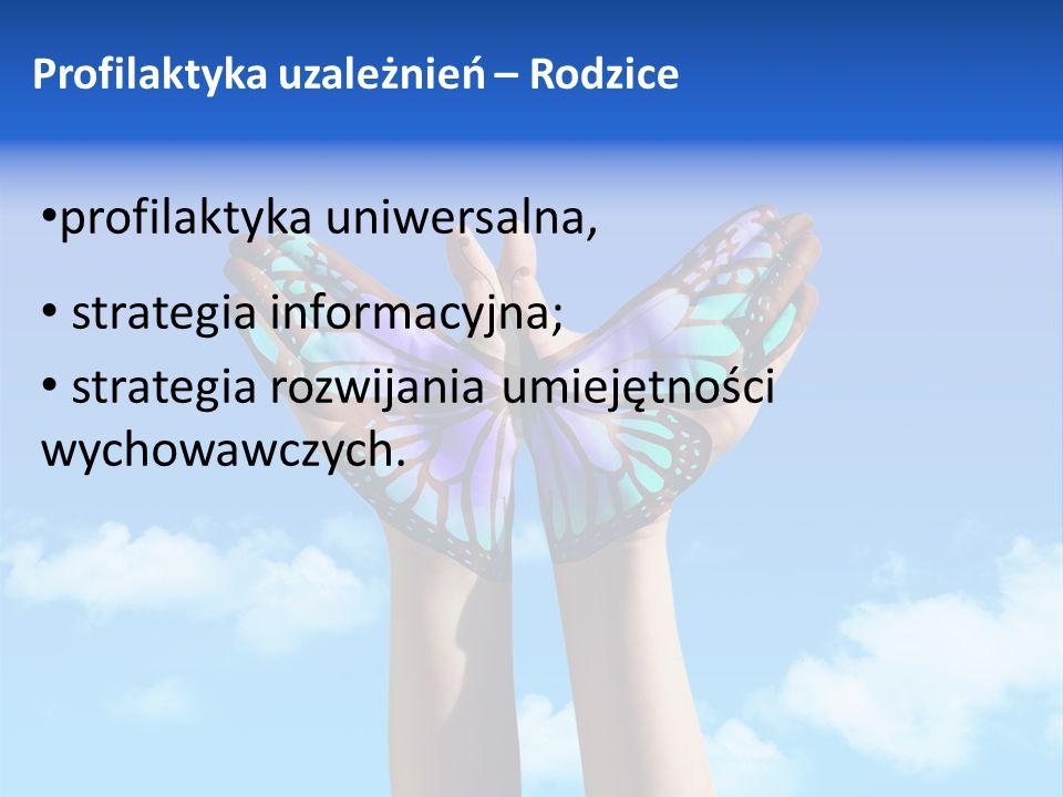 Profilaktyka uzależnień – Rodzice profilaktyka uniwersalna, strategia informacyjna; strategia rozwijania umiejętności wychowawczych.