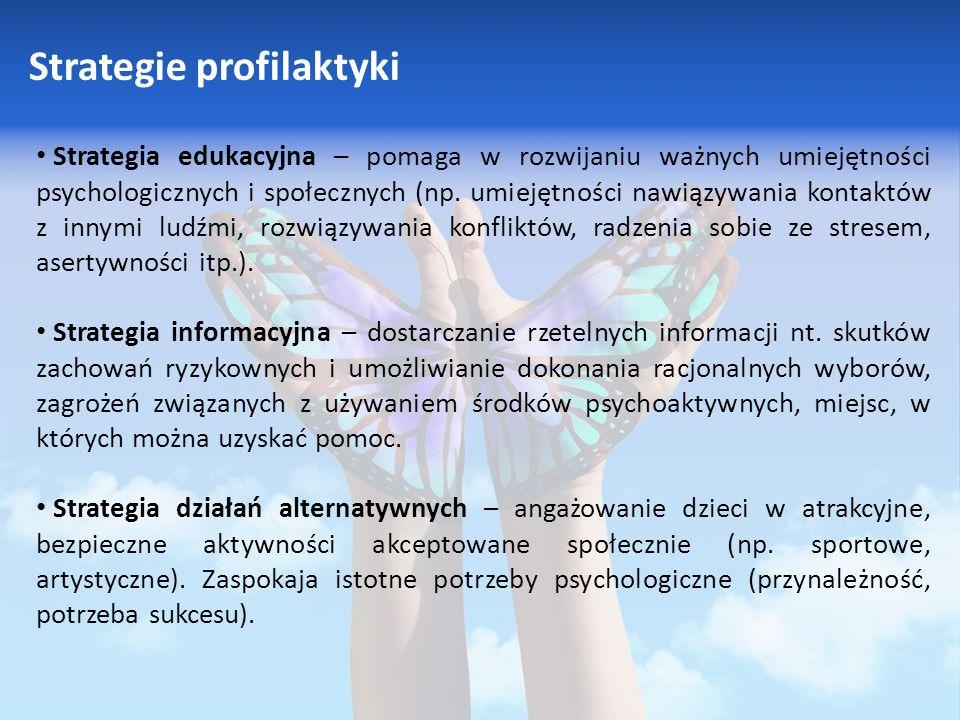 Strategie profilaktyki Strategia edukacyjna – pomaga w rozwijaniu ważnych umiejętności psychologicznych i społecznych (np.