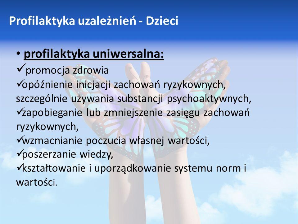 Profilaktyka uzależnień - Dzieci profilaktyka uniwersalna: promocja zdrowia opóźnienie inicjacji zachowań ryzykownych, szczególnie używania substancji psychoaktywnych, zapobieganie lub zmniejszenie zasięgu zachowań ryzykownych, wzmacnianie poczucia własnej wartości, poszerzanie wiedzy, kształtowanie i uporządkowanie systemu norm i wartośc i.