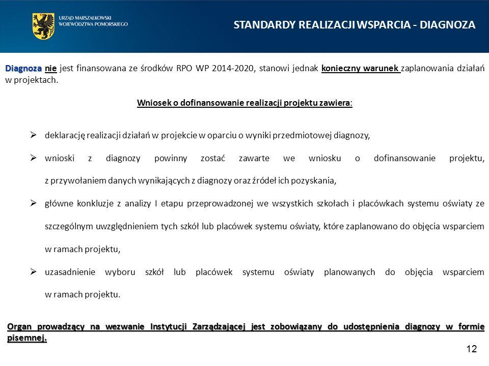 STANDARDY REALIZACJI WSPARCIA - DIAGNOZA 12 Diagnoza Diagnoza nie jest finansowana ze środków RPO WP 2014-2020, stanowi jednak konieczny warunek zapla