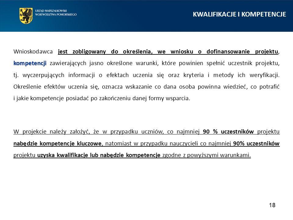 18 kompetencji Wnioskodawca jest zobligowany do określenia, we wniosku o dofinansowanie projektu, kompetencji zawierających jasno określone warunki, k