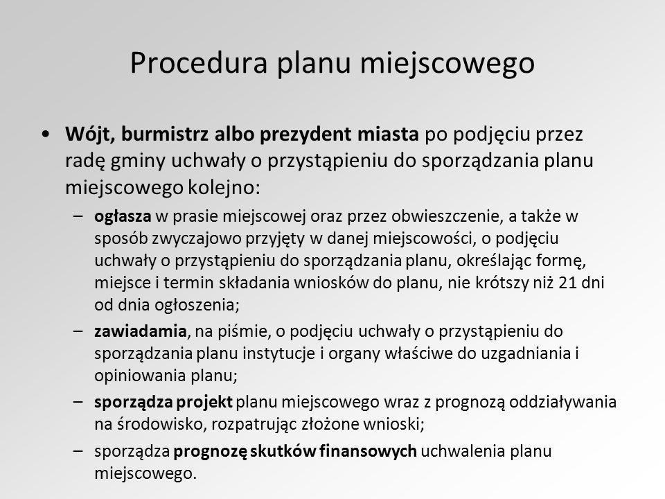 Procedura planu miejscowego Wójt, burmistrz albo prezydent miasta po podjęciu przez radę gminy uchwały o przystąpieniu do sporządzania planu miejscowe