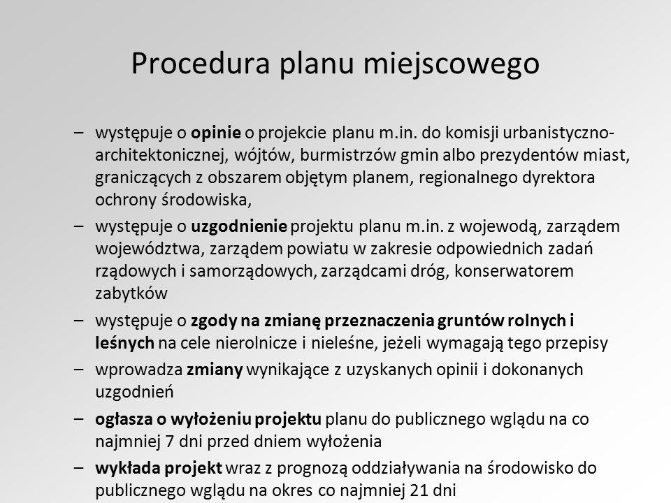 Procedura planu miejscowego –występuje o opinie o projekcie planu m.in. do komisji urbanistyczno- architektonicznej, wójtów, burmistrzów gmin albo pre