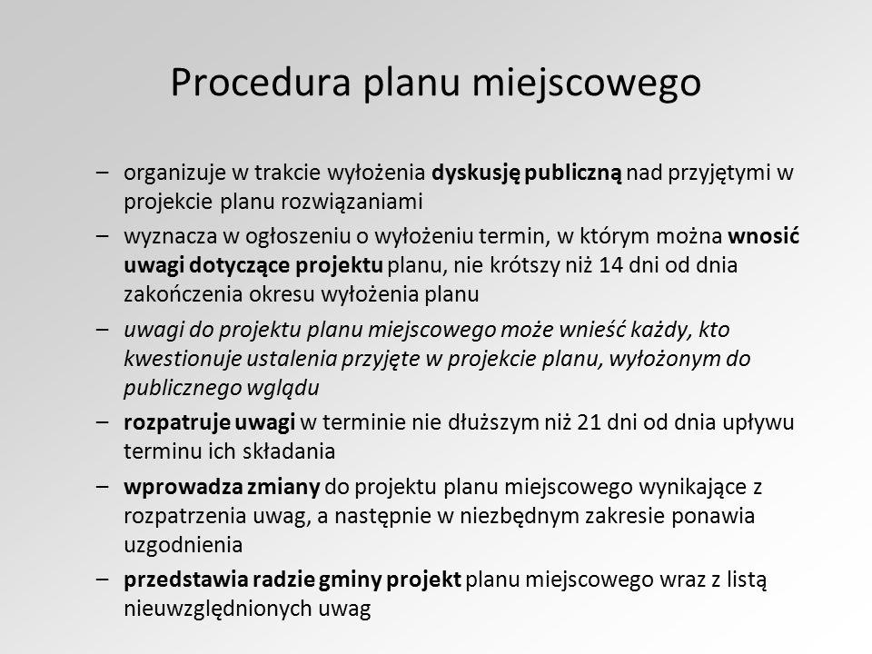 Procedura planu miejscowego –organizuje w trakcie wyłożenia dyskusję publiczną nad przyjętymi w projekcie planu rozwiązaniami –wyznacza w ogłoszeniu o
