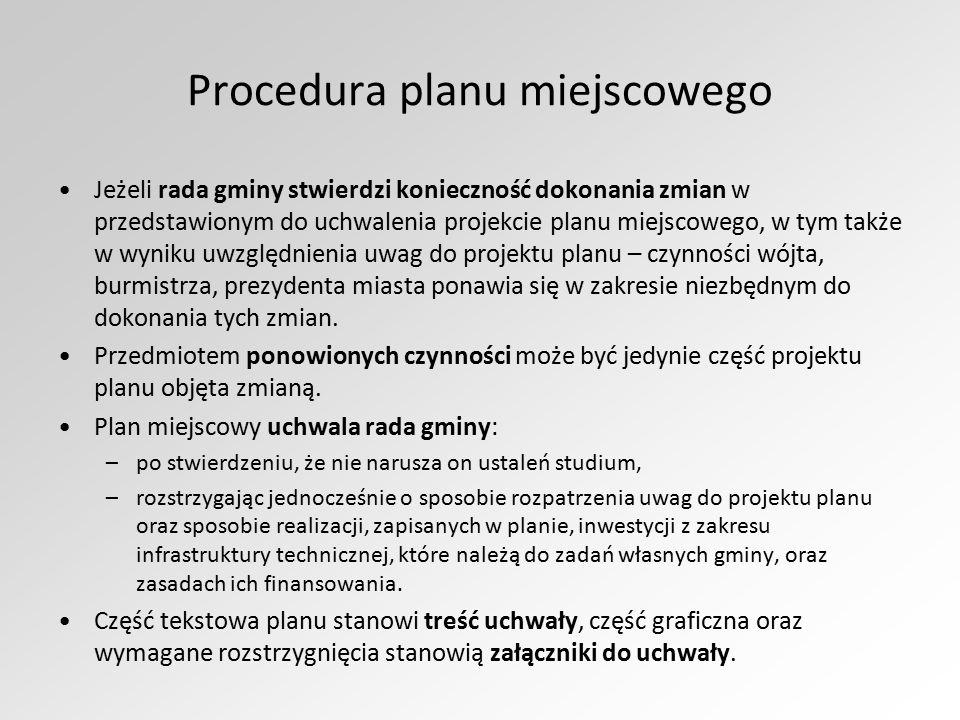 Procedura planu miejscowego Jeżeli rada gminy stwierdzi konieczność dokonania zmian w przedstawionym do uchwalenia projekcie planu miejscowego, w tym