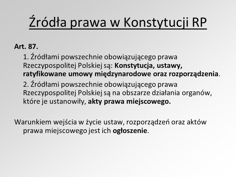 Źródła prawa w Konstytucji RP Art. 87. 1. Źródłami powszechnie obowiązującego prawa Rzeczypospolitej Polskiej są: Konstytucja, ustawy, ratyfikowane um