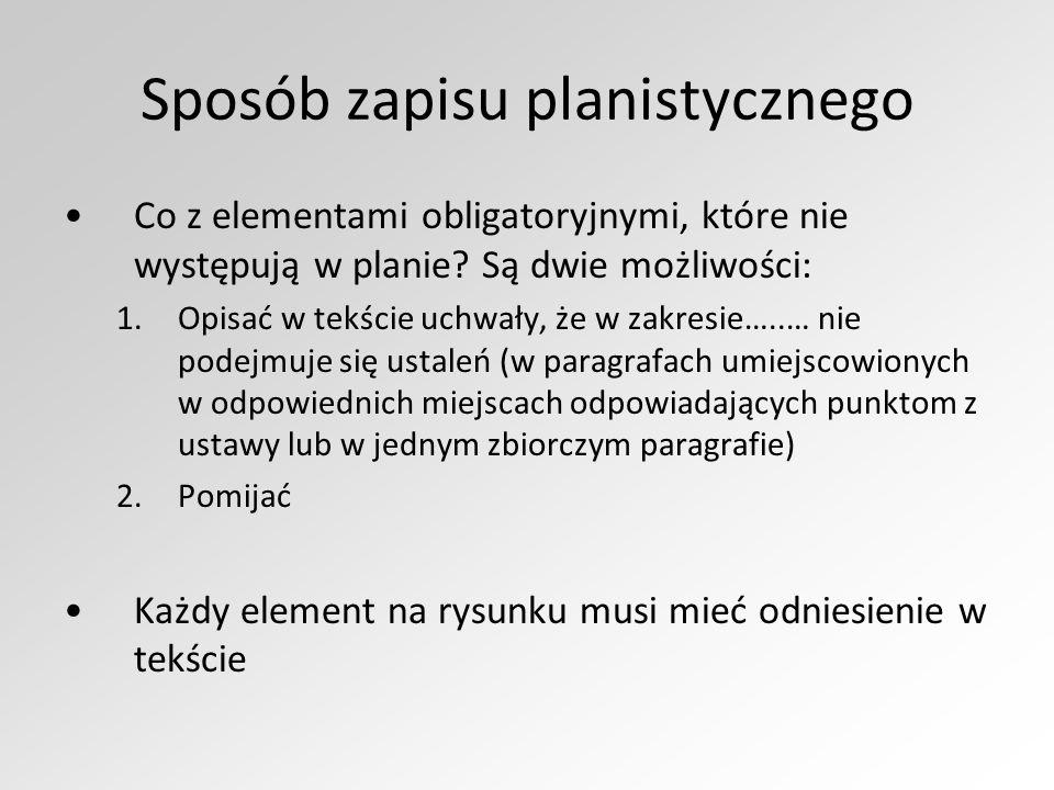 Sposób zapisu planistycznego Co z elementami obligatoryjnymi, które nie występują w planie? Są dwie możliwości: 1.Opisać w tekście uchwały, że w zakre