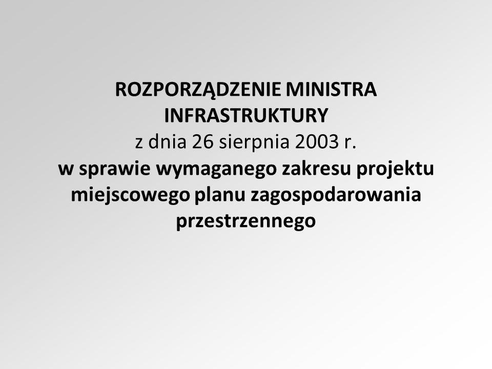 ROZPORZĄDZENIE MINISTRA INFRASTRUKTURY z dnia 26 sierpnia 2003 r. w sprawie wymaganego zakresu projektu miejscowego planu zagospodarowania przestrzenn