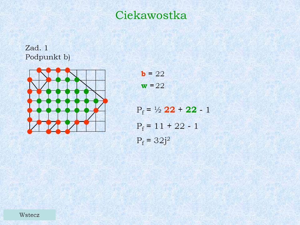 Ciekawostka Zad. 1 Podpunkt b) Wstecz b = w = 22 P f = ½ 22 + 22 - 1 P f = 11 + 22 - 1 P f = 32j 2