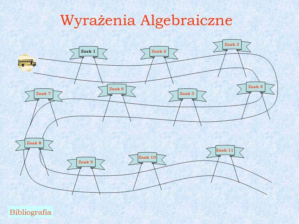 Wyrażenia Algebraiczne Bibliografia Znak 1Znak 2 Znak 3 Znak 4 Znak 5 Znak 6 Znak 7 Znak 8 Znak 9 Znak 10 Znak 11
