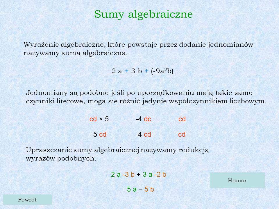 Sumy algebraiczne Wyrażenie algebraiczne, które powstaje przez dodanie jednomianów nazywamy sumą algebraiczną.