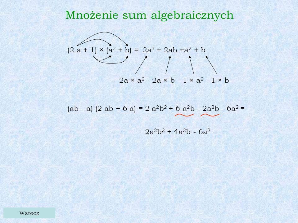 Wstecz Mnożenie sum algebraicznych (2 a + 1) × (a 2 + b) = 2a 3 + 2ab +a 2 + b 2a × a 2 2a × b1 × a 2 1 × b (ab - a) (2 ab + 6 a) = 2 a 2 b 2 + 6 a 2 b - 2a 2 b - 6a 2 = 2a 2 b 2 + 4a 2 b - 6a 2