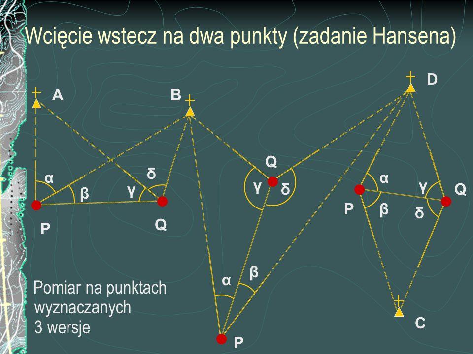 Wcięcie wstecz na dwa punkty (zadanie Hansena) Pomiar na punktach wyznaczanych 3 wersje C P B β α α β A D P P Q Q Q β α γ δ γ γδ δ