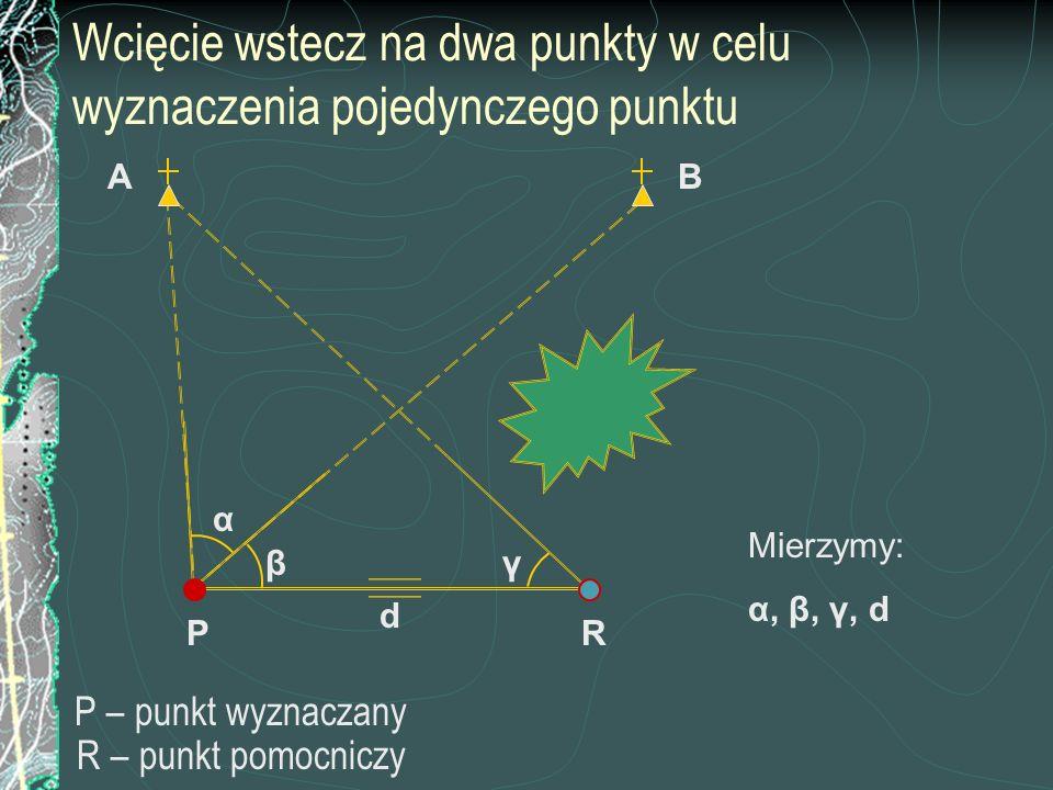 Wcięcie wstecz na dwa punkty w celu wyznaczenia pojedynczego punktu P – punkt wyznaczany R – punkt pomocniczy P BA β α γ R Mierzymy: α, β, γ, d d
