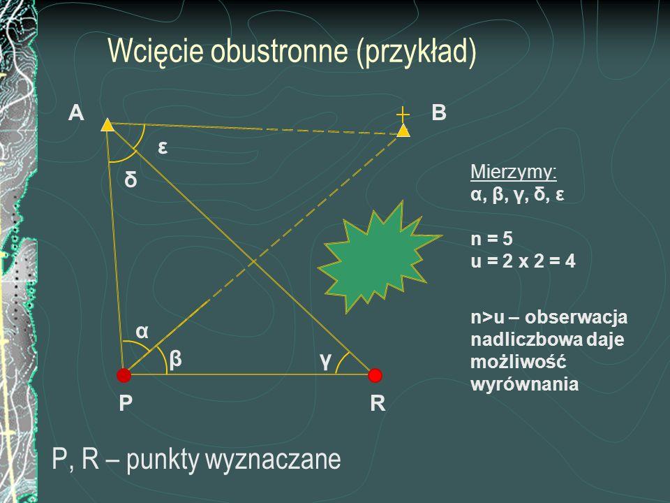 Wcięcie obustronne (przykład) P, R – punkty wyznaczane P BA β α γ R Mierzymy: α, β, γ, δ, ε n = 5 u = 2 x 2 = 4 n>u – obserwacja nadliczbowa daje możl