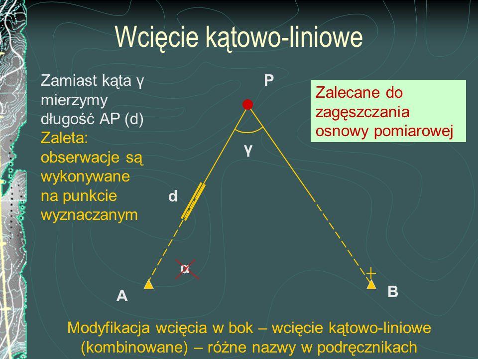Inne wcięcie kombinowane (zadanie ma dwa rozwiązania !) B sin (γ) = sin (200 – γ) Zamiast kąta γ mierzymy długość PB (d) A P' α d P.
