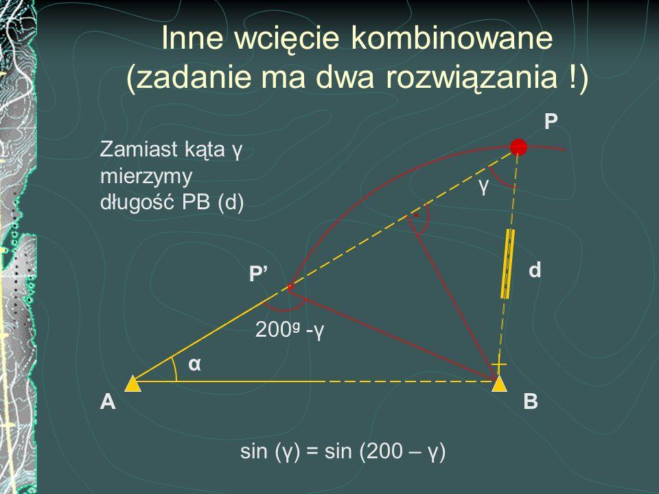 Inne wcięcie kombinowane (zadanie ma dwa rozwiązania !) B sin (γ) = sin (200 – γ) Zamiast kąta γ mierzymy długość PB (d) A P' α d P. 200 g -γ γ