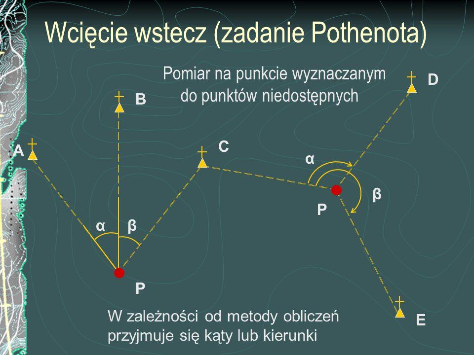 Wcięcie wstecz (zadanie Pothenota) Pomiar na punkcie wyznaczanym do punktów niedostępnych C P B β α α β A E D P W zależności od metody obliczeń przyjm