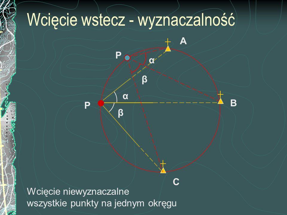 Wcięcie wstecz - wyznaczalność A Wcięcie niewyznaczalne wszystkie punkty na jednym okręgu C B β α P α β P