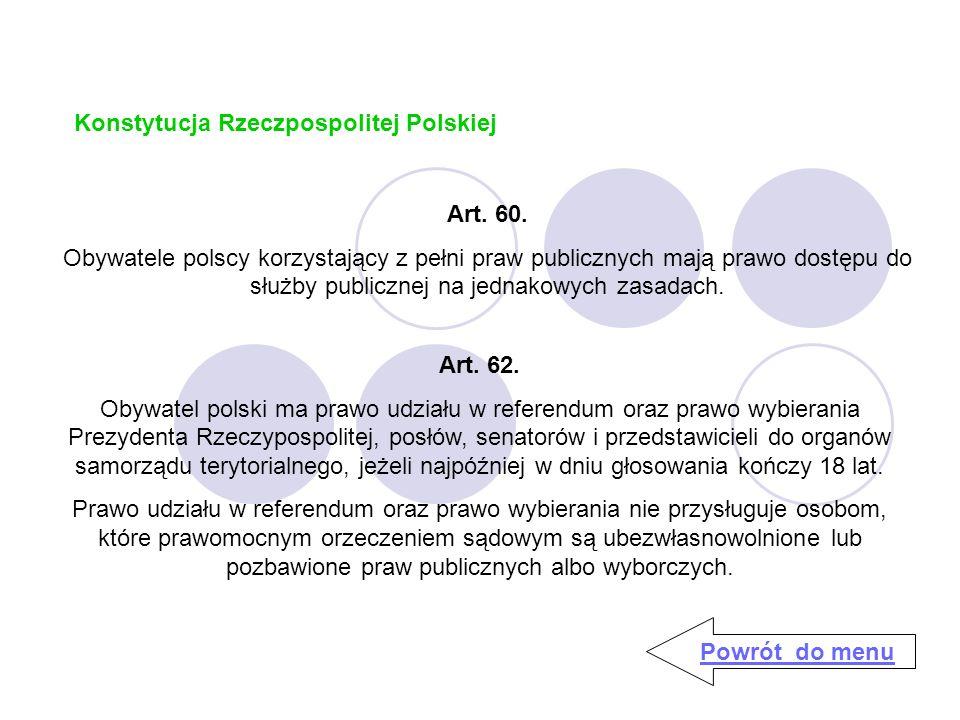 Konstytucja Rzeczpospolitej Polskiej Powrót do menu Art.