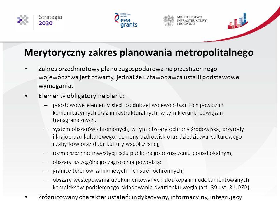 Merytoryczny zakres planowania metropolitalnego Zakres przedmiotowy planu zagospodarowania przestrzennego województwa jest otwarty, jednakże ustawodawca ustalił podstawowe wymagania.
