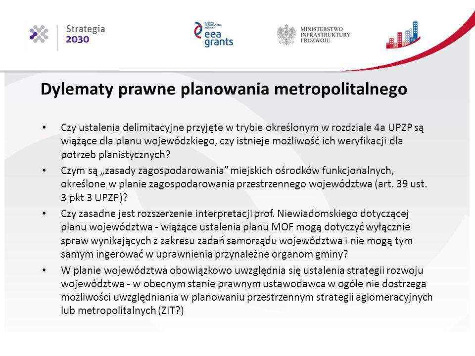 Dylematy prawne planowania metropolitalnego Czy ustalenia delimitacyjne przyjęte w trybie określonym w rozdziale 4a UPZP są wiążące dla planu wojewódzkiego, czy istnieje możliwość ich weryfikacji dla potrzeb planistycznych.