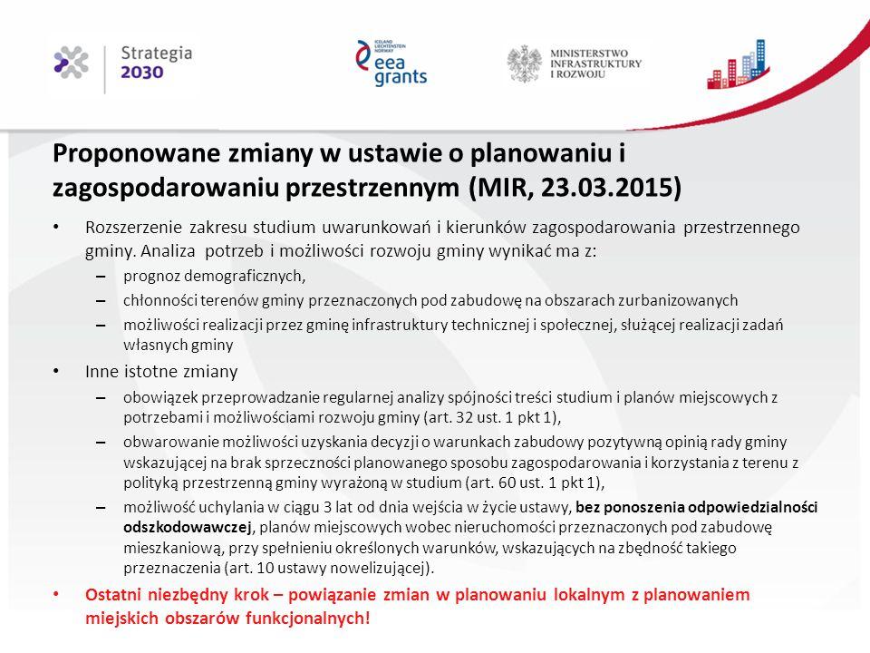 Proponowane zmiany w ustawie o planowaniu i zagospodarowaniu przestrzennym (MIR, 23.03.2015) Rozszerzenie zakresu studium uwarunkowań i kierunków zagospodarowania przestrzennego gminy.