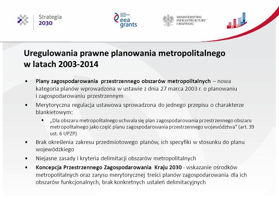 Uregulowania prawne planowania metropolitalnego w latach 2003-2014 Plany zagospodarowania przestrzennego obszarów metropolitalnych – nowa kategoria planów wprowadzona w ustawie z dnia 27 marca 2003 r.