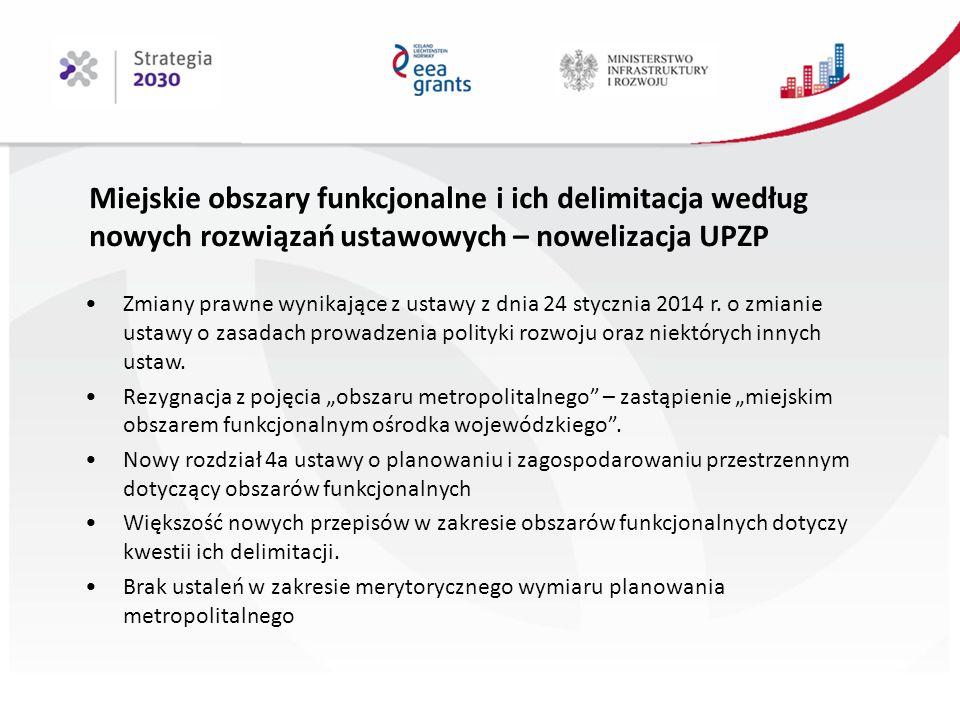 Miejskie obszary funkcjonalne i ich delimitacja według nowych rozwiązań ustawowych – nowelizacja UPZP Zmiany prawne wynikające z ustawy z dnia 24 stycznia 2014 r.