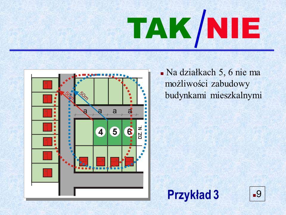 n Na działkach 5, 6 nie ma możliwości zabudowy budynkami mieszkalnymi Przykład 3 NIE n9n9 TAK