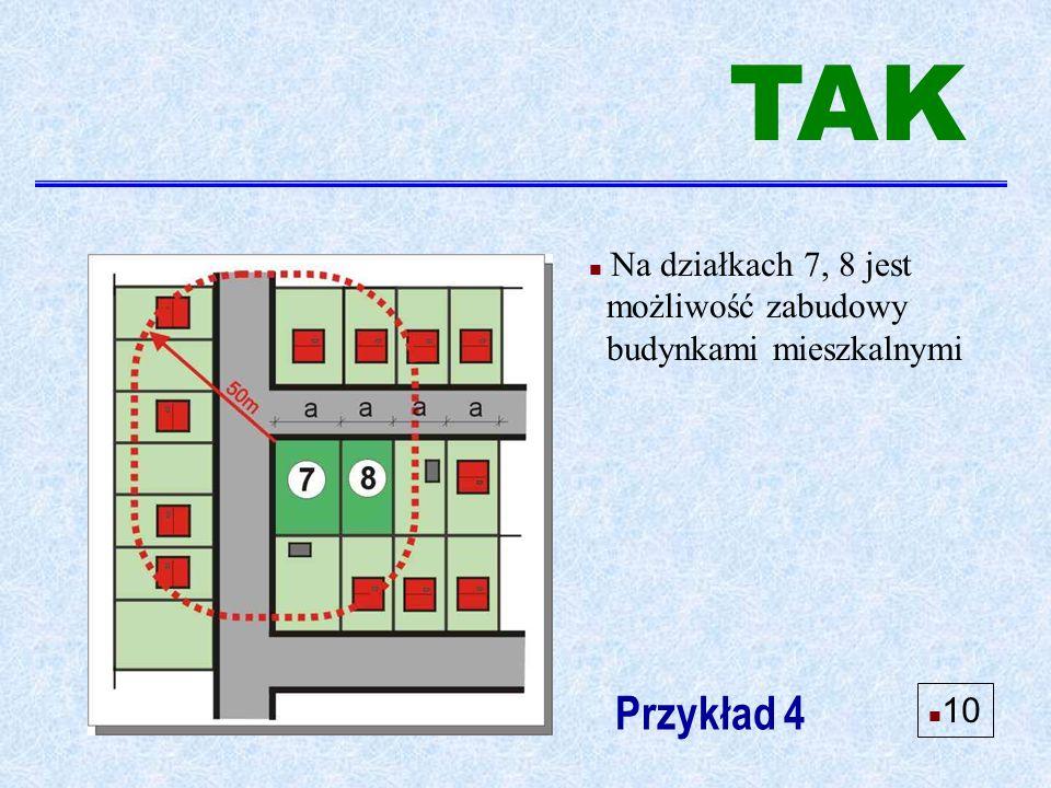 n Na działkach 7, 8 jest możliwość zabudowy budynkami mieszkalnymi Przykład 4 n 10 TAK