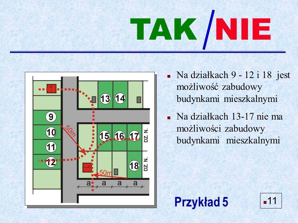 n Na działkach 9 - 12 i 18 jest możliwość zabudowy budynkami mieszkalnymi n Na działkach 13-17 nie ma możliwości zabudowy budynkami mieszkalnymi Przykład 5 NIE n 11 TAK