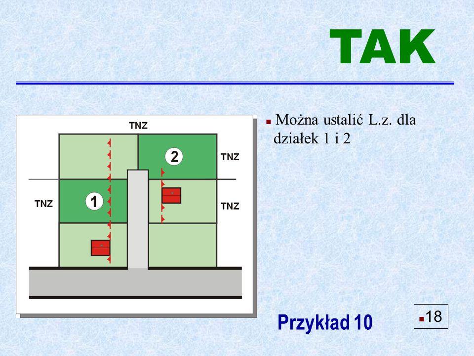 Przykład 10 n Można ustalić L.z. dla działek 1 i 2 n 18 TAK