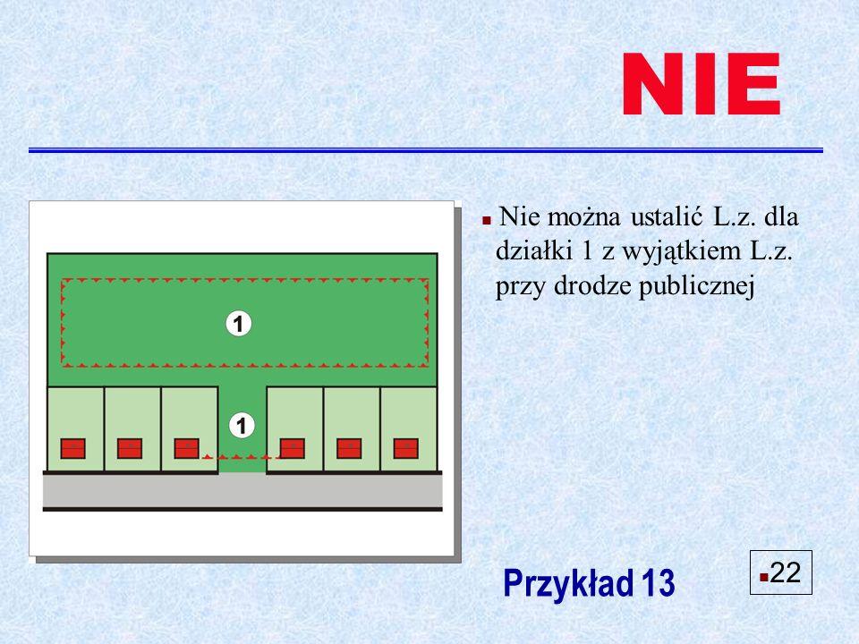 n Nie można ustalić L.z. dla działki 1 z wyjątkiem L.z. przy drodze publicznej Przykład 13 NIE n 22
