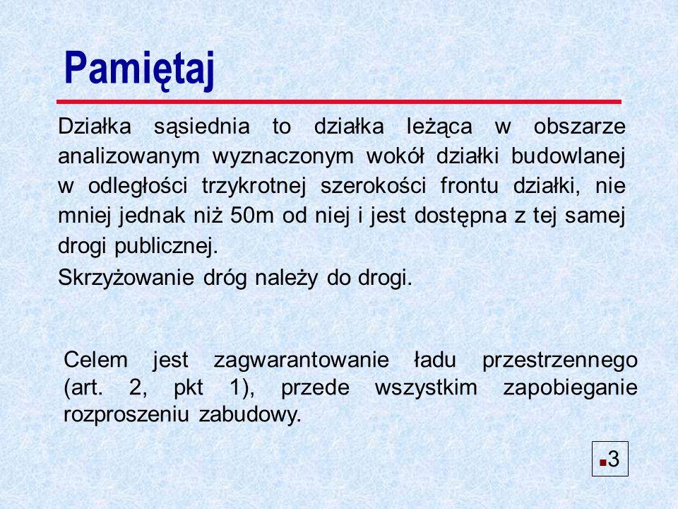 n Istnieje możliwość ustalenia zabudowy dla działek 1, 2 Przykład 6 TAK n 14