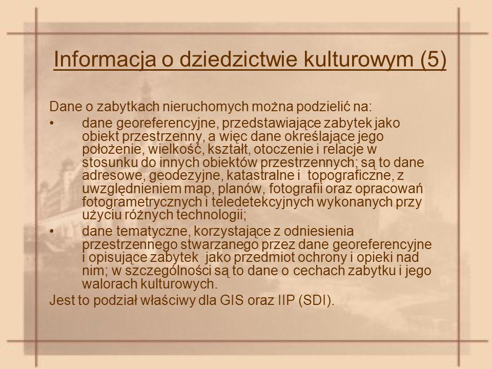 Informacja o dziedzictwie kulturowym (5) Dane o zabytkach nieruchomych można podzielić na: dane georeferencyjne, przedstawiające zabytek jako obiekt p