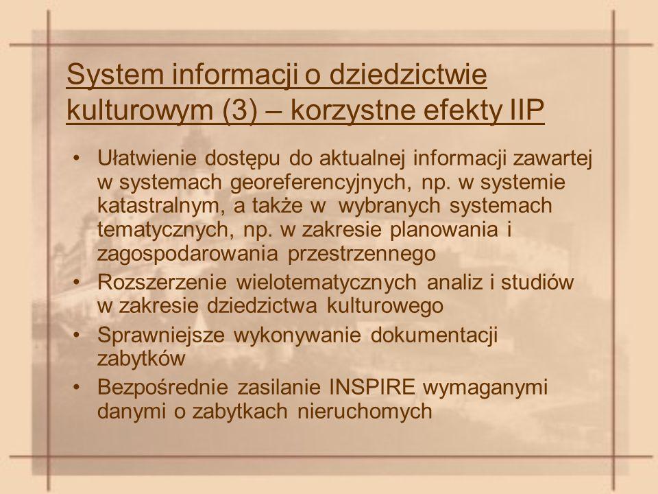 System informacji o dziedzictwie kulturowym (3) – korzystne efekty IIP Ułatwienie dostępu do aktualnej informacji zawartej w systemach georeferencyjnych, np.