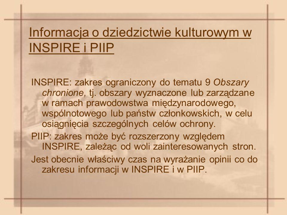 Informacja o dziedzictwie kulturowym w INSPIRE i PIIP INSPIRE: zakres ograniczony do tematu 9 Obszary chronione, tj.