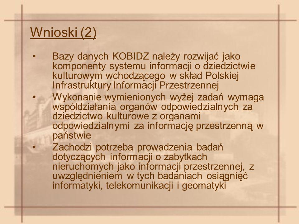 Wnioski (2) Bazy danych KOBIDZ należy rozwijać jako komponenty systemu informacji o dziedzictwie kulturowym wchodzącego w skład Polskiej Infrastruktury Informacji Przestrzennej Wykonanie wymienionych wyżej zadań wymaga współdziałania organów odpowiedzialnych za dziedzictwo kulturowe z organami odpowiedzialnymi za informację przestrzenną w państwie Zachodzi potrzeba prowadzenia badań dotyczących informacji o zabytkach nieruchomych jako informacji przestrzennej, z uwzględnieniem w tych badaniach osiągnięć informatyki, telekomunikacji i geomatyki