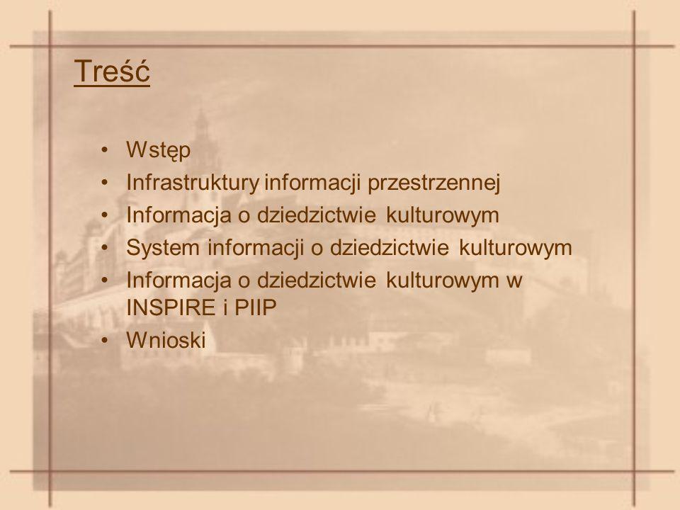 Treść Wstęp Infrastruktury informacji przestrzennej Informacja o dziedzictwie kulturowym System informacji o dziedzictwie kulturowym Informacja o dziedzictwie kulturowym w INSPIRE i PIIP Wnioski