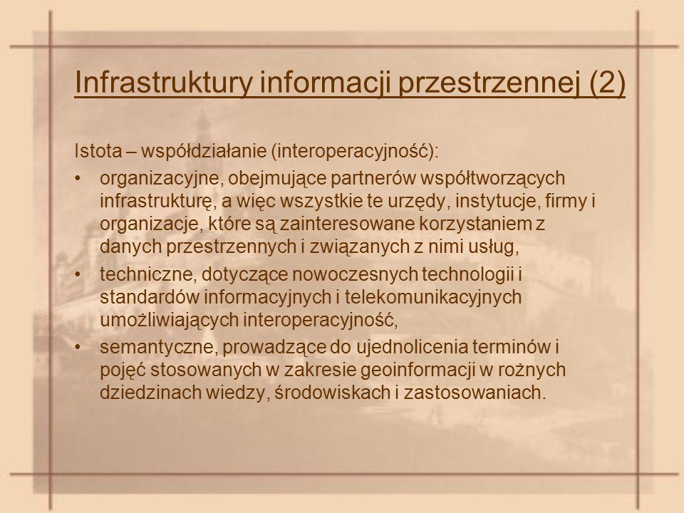 Infrastruktury informacji przestrzennej (2) Istota – współdziałanie (interoperacyjność): organizacyjne, obejmujące partnerów współtworzących infrastru