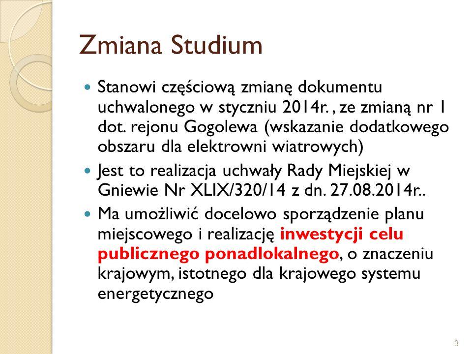 3 Zmiana Studium Stanowi częściową zmianę dokumentu uchwalonego w styczniu 2014r., ze zmianą nr 1 dot. rejonu Gogolewa (wskazanie dodatkowego obszaru