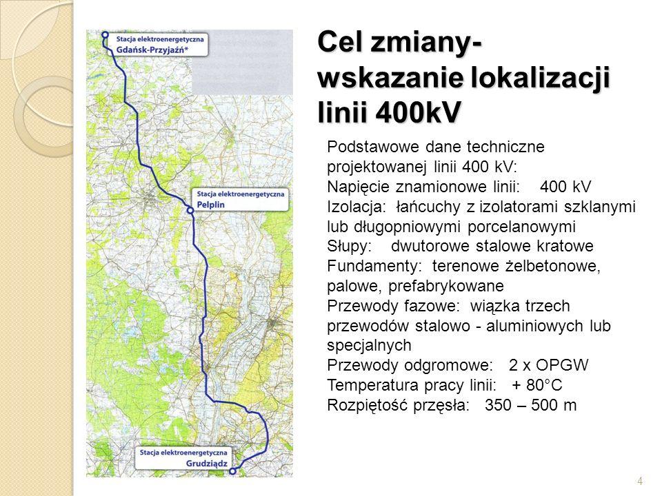 4 Cel zmiany- wskazanie lokalizacji linii 400kV Podstawowe dane techniczne projektowanej linii 400 kV: Napięcie znamionowe linii: 400 kV Izolacja: łań