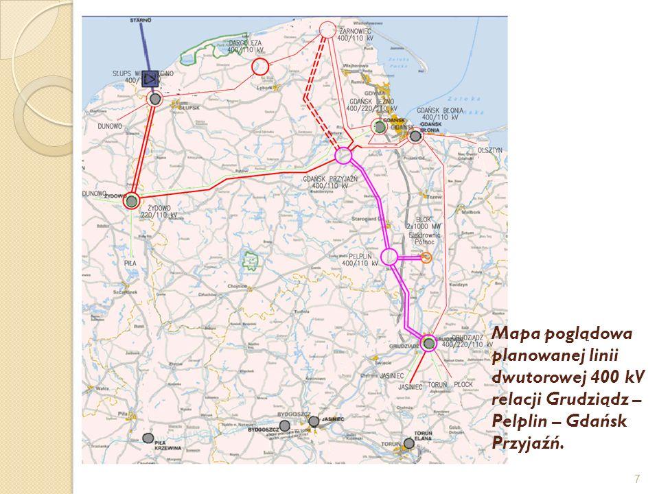7 Mapa poglądowa planowanej linii dwutorowej 400 kV relacji Grudziądz – Pelplin – Gdańsk Przyjaźń.