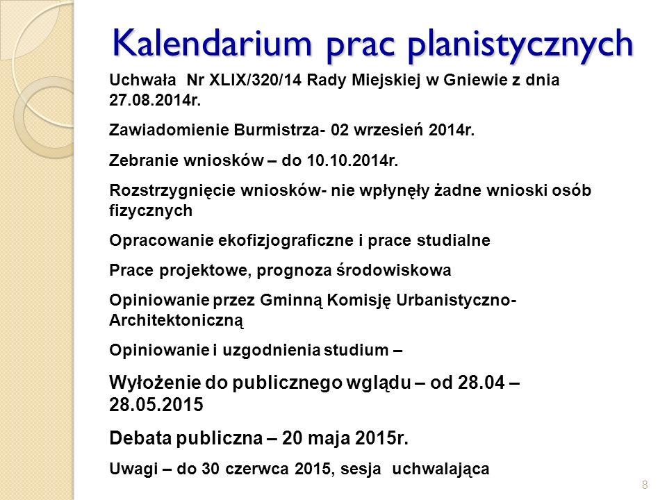 8 Kalendarium prac planistycznych Uchwała Nr XLIX/320/14 Rady Miejskiej w Gniewie z dnia 27.08.2014r. Zawiadomienie Burmistrza- 02 wrzesień 2014r. Zeb