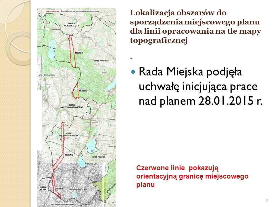 9 Lokalizacja obszarów do sporządzenia miejscowego planu dla linii opracowania na tle mapy topograficznej. Czerwone linie pokazują orientacyjną granic