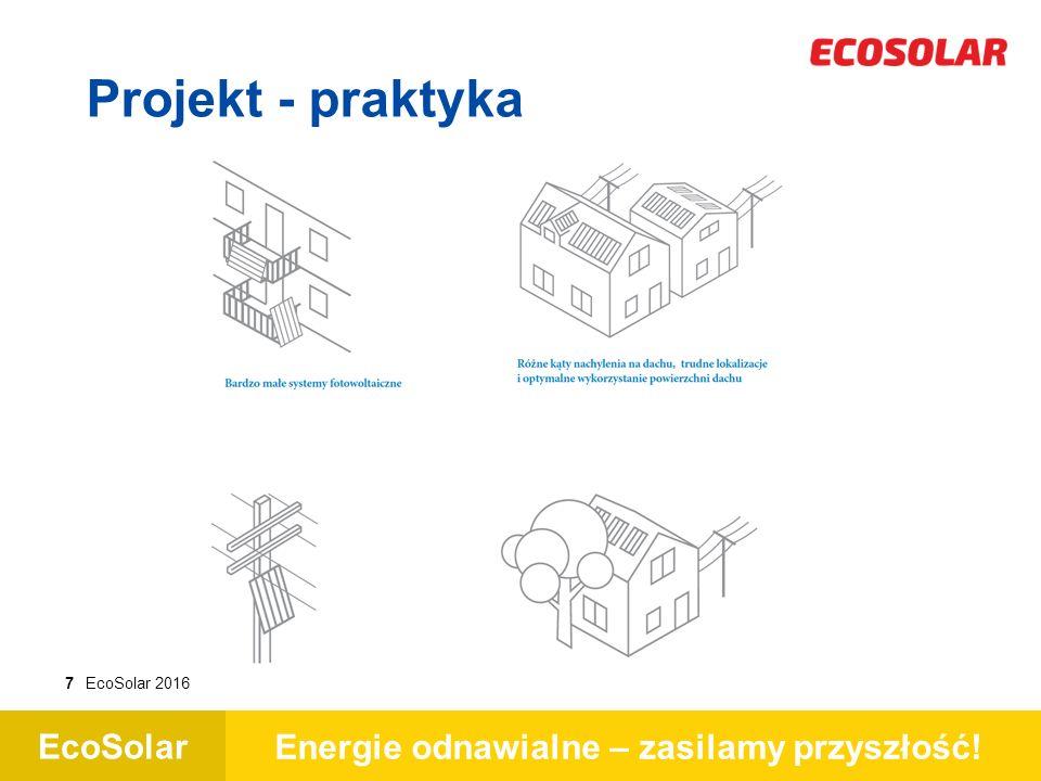 EcoSolar Energie odnawialne – zasilamy przyszłość! 7EcoSolar 2016 Projekt - praktyka