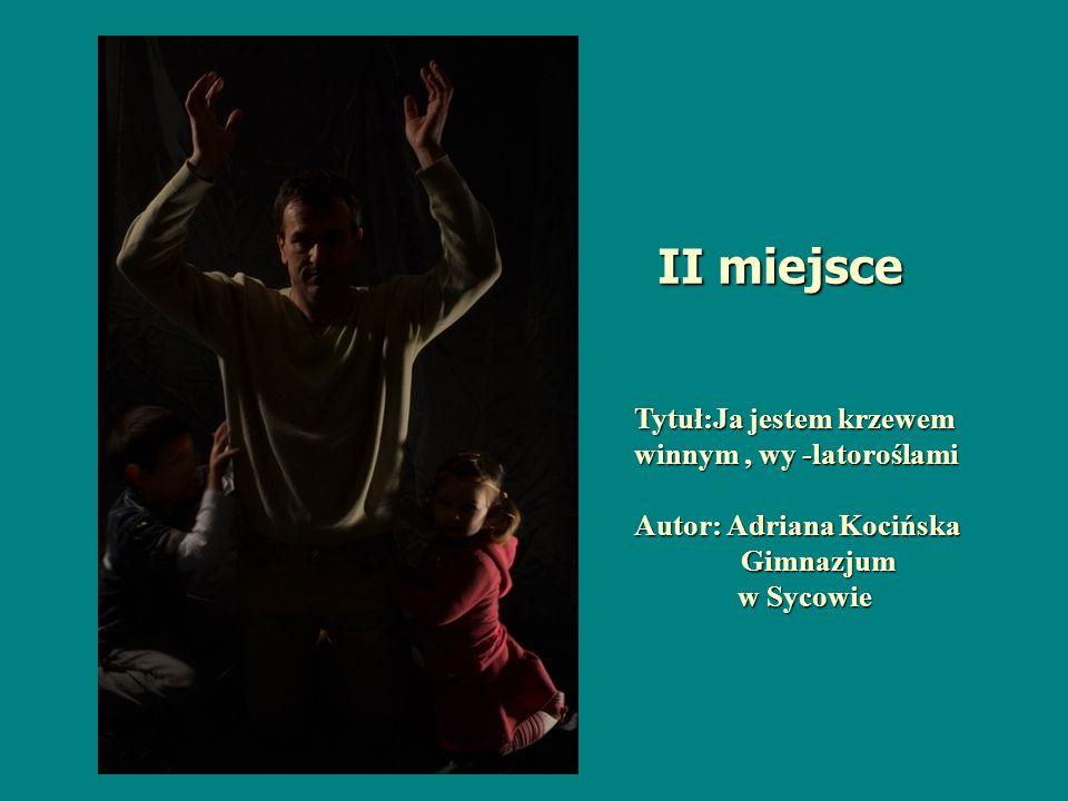 Tytuł:Ja jestem krzewem winnym, wy -latoroślami Autor: Adriana Kocińska Gimnazjum w Sycowie w Sycowie II miejsce